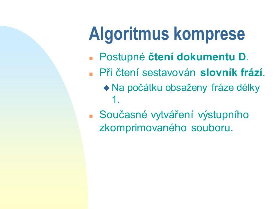 Algoritmus komprese n Postupné čtení dokumentu D. n Při čtení sestavován slovník frází. u Na počátku obsaženy fráze délky 1. n Současné vytváření výst