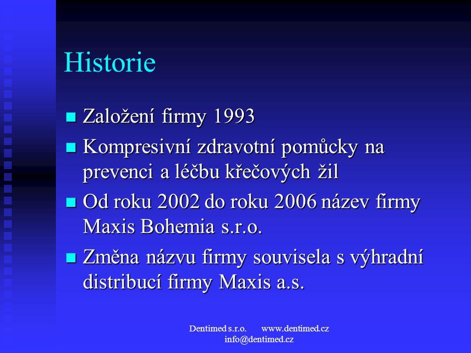 Historie Založení firmy 1993 Založení firmy 1993 Kompresivní zdravotní pomůcky na prevenci a léčbu křečových žil Kompresivní zdravotní pomůcky na prevenci a léčbu křečových žil Od roku 2002 do roku 2006 název firmy Maxis Bohemia s.r.o.