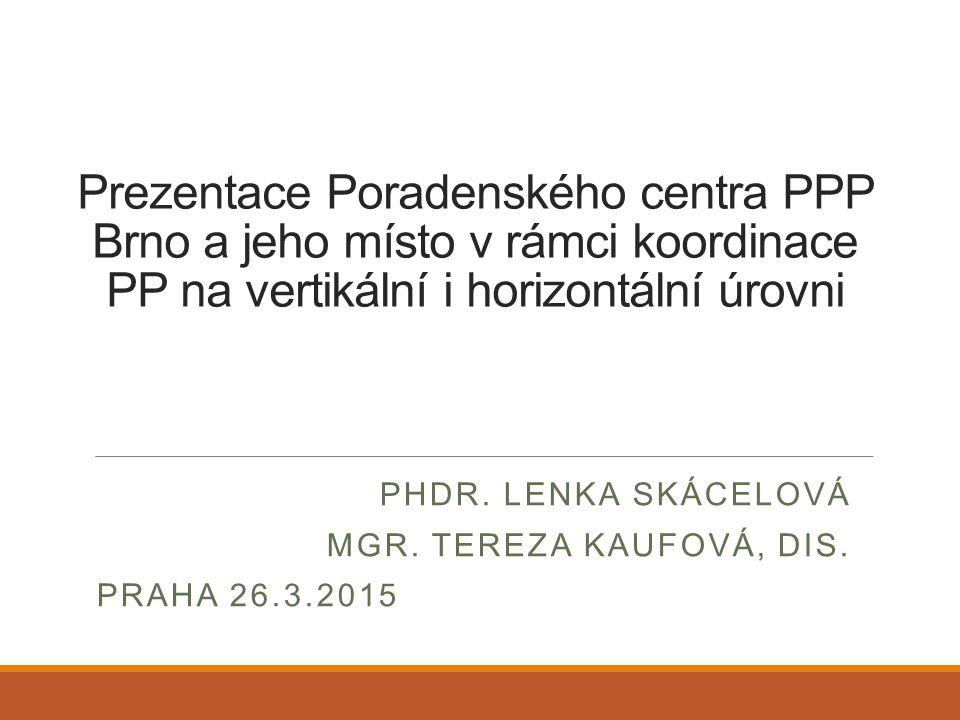 Prezentace Poradenského centra PPP Brno a jeho místo v rámci koordinace PP na vertikální i horizontální úrovni PHDR. LENKA SKÁCELOVÁ MGR. TEREZA KAUFO