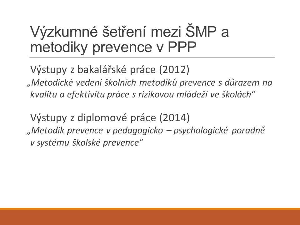 """Výzkumné šetření mezi ŠMP a metodiky prevence v PPP Výstupy z bakalářské práce (2012) """"Metodické vedení školních metodiků prevence s důrazem na kvalit"""