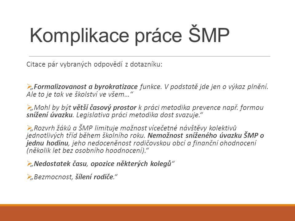 """Komplikace práce ŠMP Citace pár vybraných odpovědí z dotazníku:  """"Formalizovanost a byrokratizace funkce. V podstatě jde jen o výkaz plnění. Ale to j"""