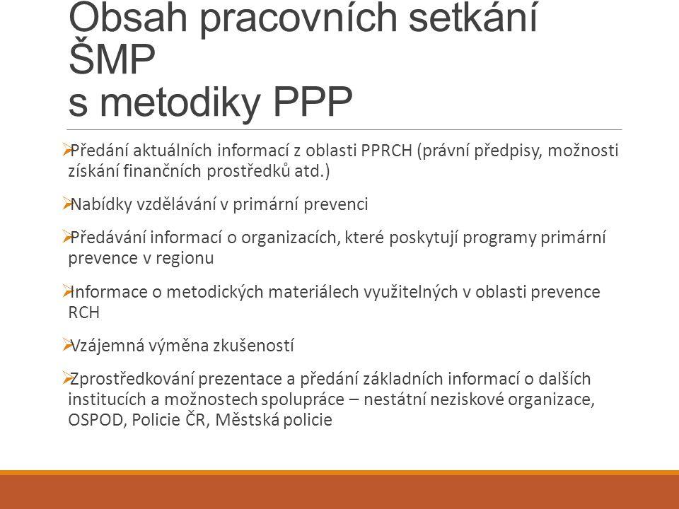 Obsah pracovních setkání ŠMP s metodiky PPP  Předání aktuálních informací z oblasti PPRCH (právní předpisy, možnosti získání finančních prostředků at