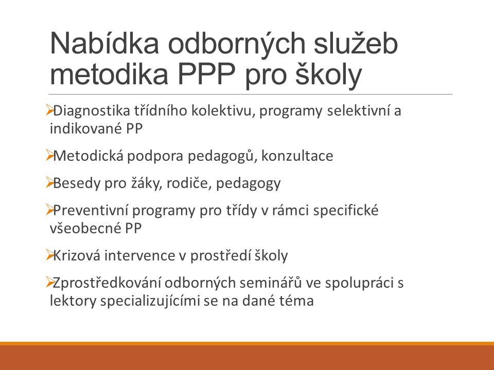 Nabídka odborných služeb metodika PPP pro školy  Diagnostika třídního kolektivu, programy selektivní a indikované PP  Metodická podpora pedagogů, ko