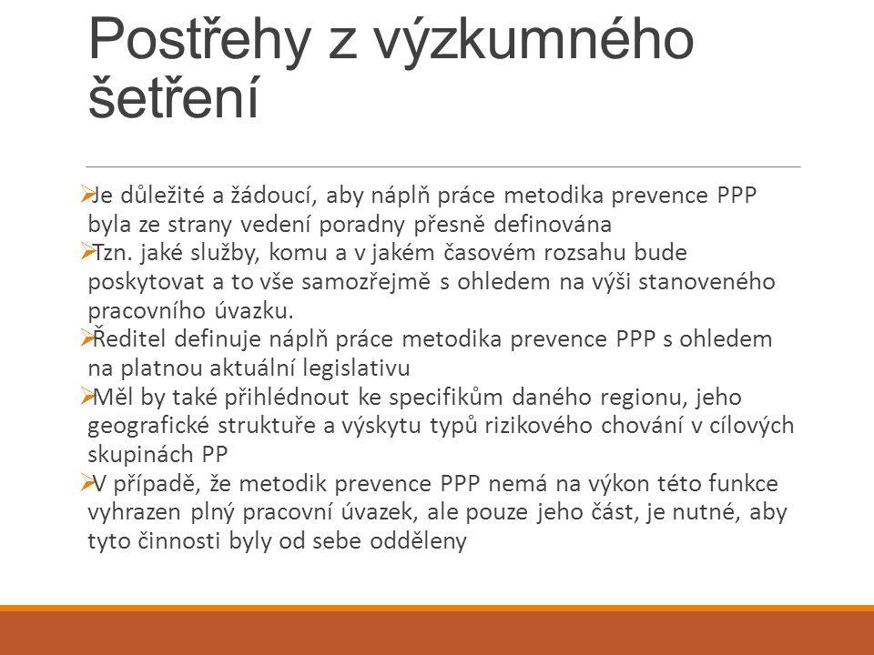 Postřehy z výzkumného šetření  Je důležité a žádoucí, aby náplň práce metodika prevence PPP byla ze strany vedení poradny přesně definována  Tzn. ja
