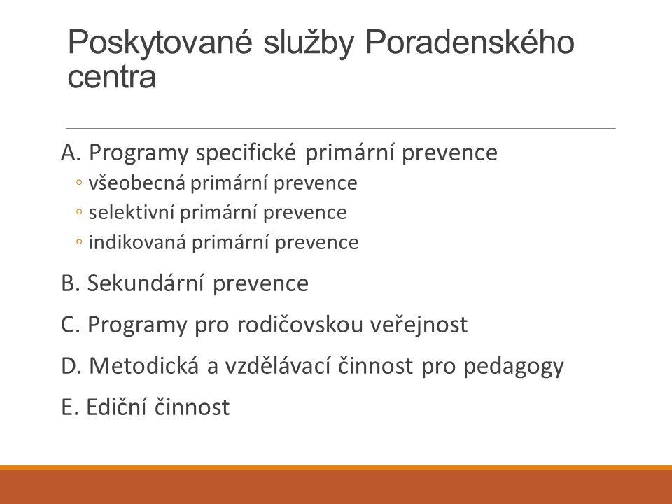 Poskytované služby Poradenského centra A. Programy specifické primární prevence ◦všeobecná primární prevence ◦selektivní primární prevence ◦indikovaná