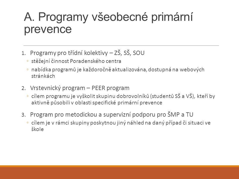 A. Programy všeobecné primární prevence 1. Programy pro třídní kolektivy – ZŠ, SŠ, SOU ◦stěžejní činnost Poradenského centra ◦nabídka programů je každ