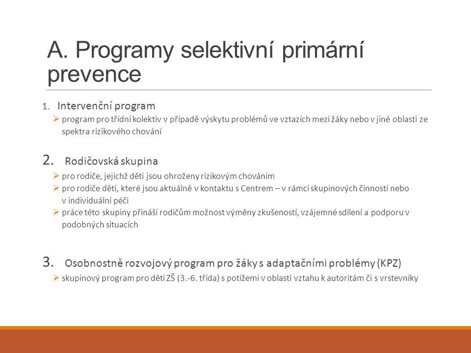 A. Programy selektivní primární prevence 1. Intervenční program  program pro třídní kolektiv v případě výskytu problémů ve vztazích mezi žáky nebo v