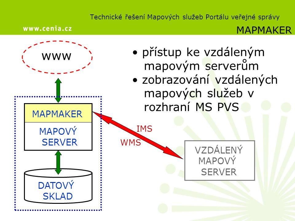 přístup ke vzdáleným mapovým serverům zobrazování vzdálených mapových služeb v rozhraní MS PVS Technické řešení Mapových služeb Portálu veřejné správy