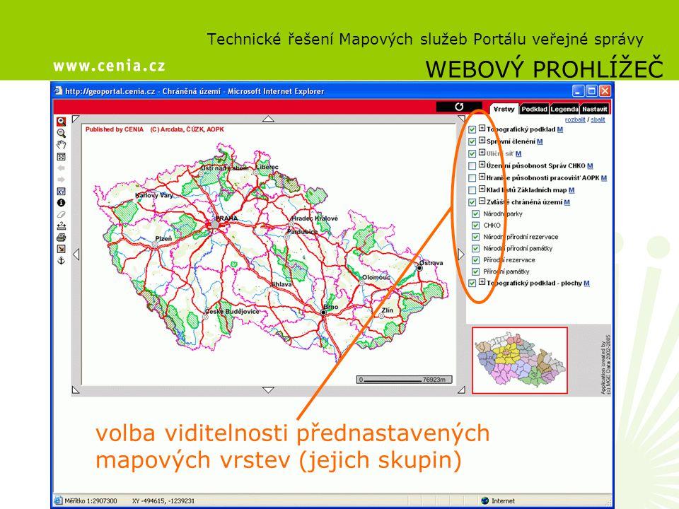 Technické řešení Mapových služeb Portálu veřejné správy WEBOVÝ PROHLÍŽEČ volba viditelnosti přednastavených mapových vrstev (jejich skupin)