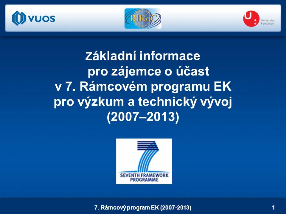 7. Rámcový program EK (2007-2013)1 Z ákladní informace pro zájemce o účast v 7.