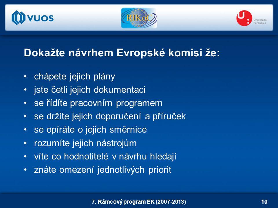 7. Rámcový program EK (2007-2013)10 chápete jejich plány jste četli jejich dokumentaci se řídíte pracovním programem se držíte jejich doporučení a pří