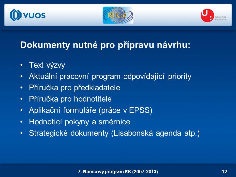 7. Rámcový program EK (2007-2013)12 Text výzvy Aktuální pracovní program odpovídající priority Příručka pro předkladatele Příručka pro hodnotitele Apl