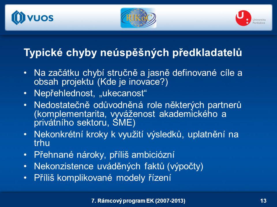 """7. Rámcový program EK (2007-2013)13 Na začátku chybí stručně a jasně definované cíle a obsah projektu (Kde je inovace?) Nepřehlednost, """"ukecanost"""" Ned"""