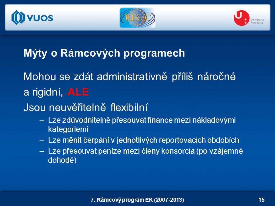 7. Rámcový program EK (2007-2013)15 Mýty o Rámcových programech Mohou se zdát administrativně příliš náročné a rigidní, ALE Jsou neuvěřitelně flexibil