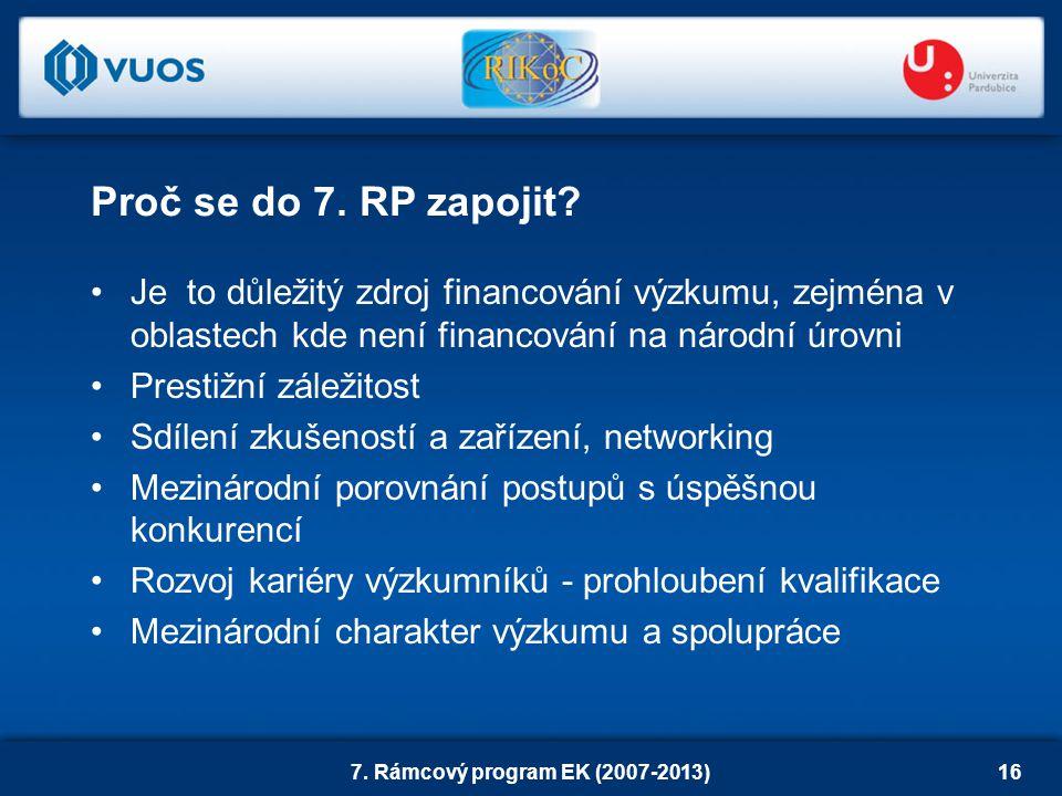 7. Rámcový program EK (2007-2013)16 Je to důležitý zdroj financování výzkumu, zejména v oblastech kde není financování na národní úrovni Prestižní zál