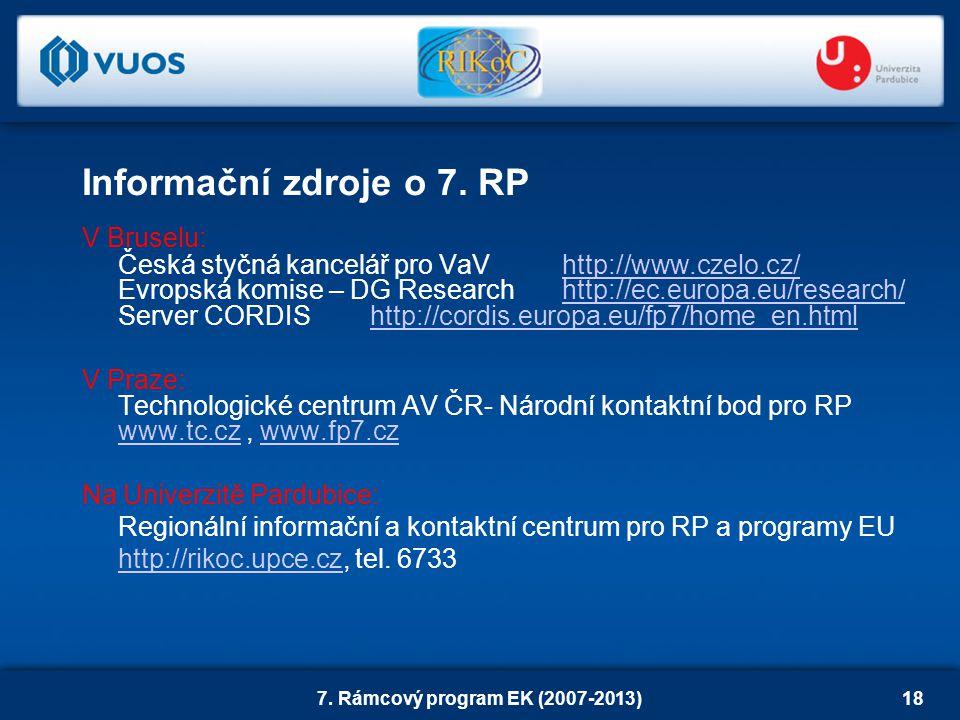 7. Rámcový program EK (2007-2013)18 V Bruselu: Česká styčná kancelář pro VaVhttp://www.czelo.cz/http://www.czelo.cz/ Evropská komise – DG Researchhttp