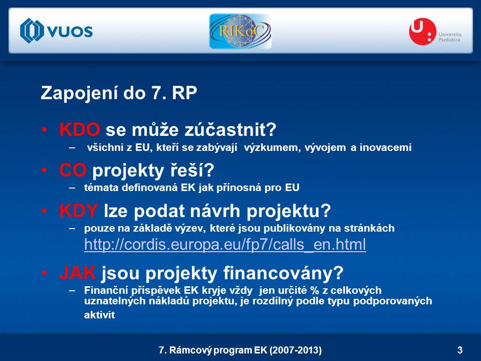 7. Rámcový program EK (2007-2013)3 Zapojení do 7.