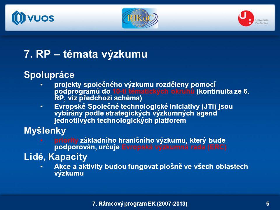 7. Rámcový program EK (2007-2013)6 7.
