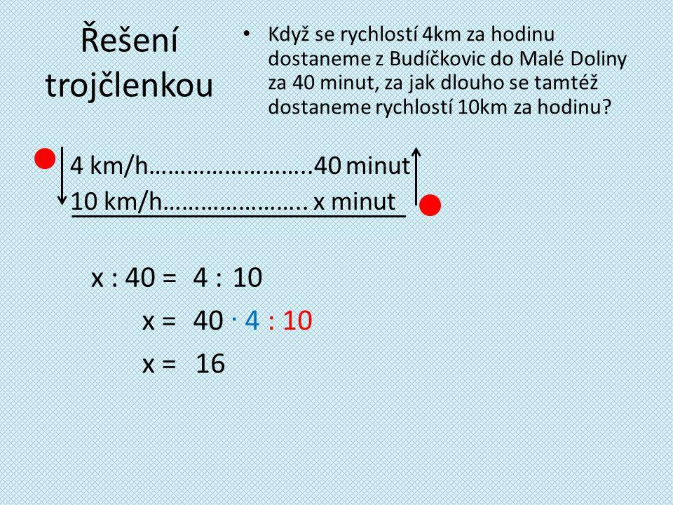 Řešení trojčlenkou 4 km/h……………………..40 minut 10 km/h…………………..