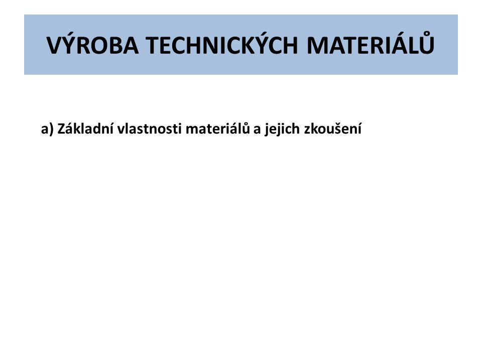 VÝROBA TECHNICKÝCH MATERIÁLŮ a) Základní vlastnosti materiálů a jejich zkoušení