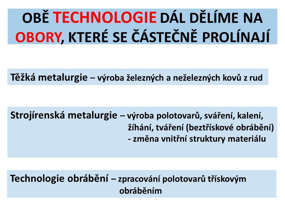 OBĚ TECHNOLOGIE DÁL DĚLÍME NA OBORY, KTERÉ SE ČÁSTEČNĚ PROLÍNAJÍ Těžká metalurgie – výroba železných a neželezných kovů z rud Strojírenská metalurgie