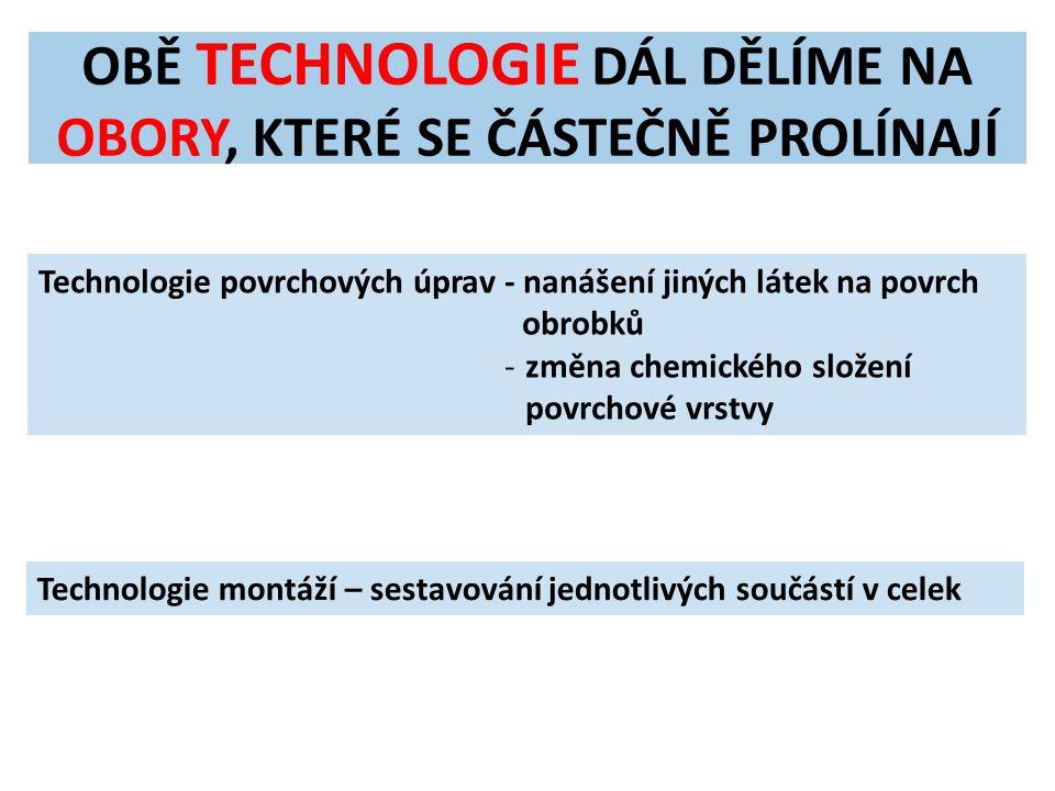 OBĚ TECHNOLOGIE DÁL DĚLÍME NA OBORY, KTERÉ SE ČÁSTEČNĚ PROLÍNAJÍ Technologie povrchových úprav - nanášení jiných látek na povrch obrobků -změna chemic