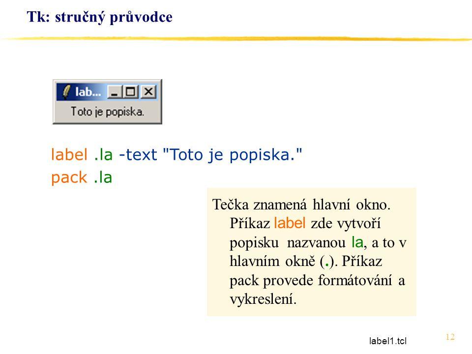 12 Tk: stručný průvodce label.la -text