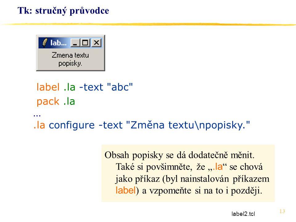 13 Tk: stručný průvodce label.la -text