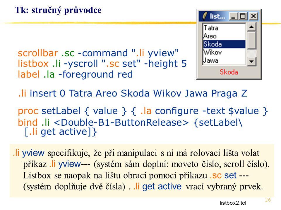 26 Tk: stručný průvodce scrollbar.sc -command