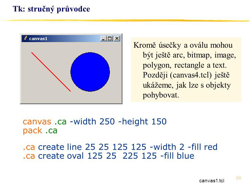 30 Tk: stručný průvodce canvas.ca -width 250 -height 150 pack.ca.ca create line 25 25 125 125 -width 2 -fill red.ca create oval 125 25 225 125 -fill b