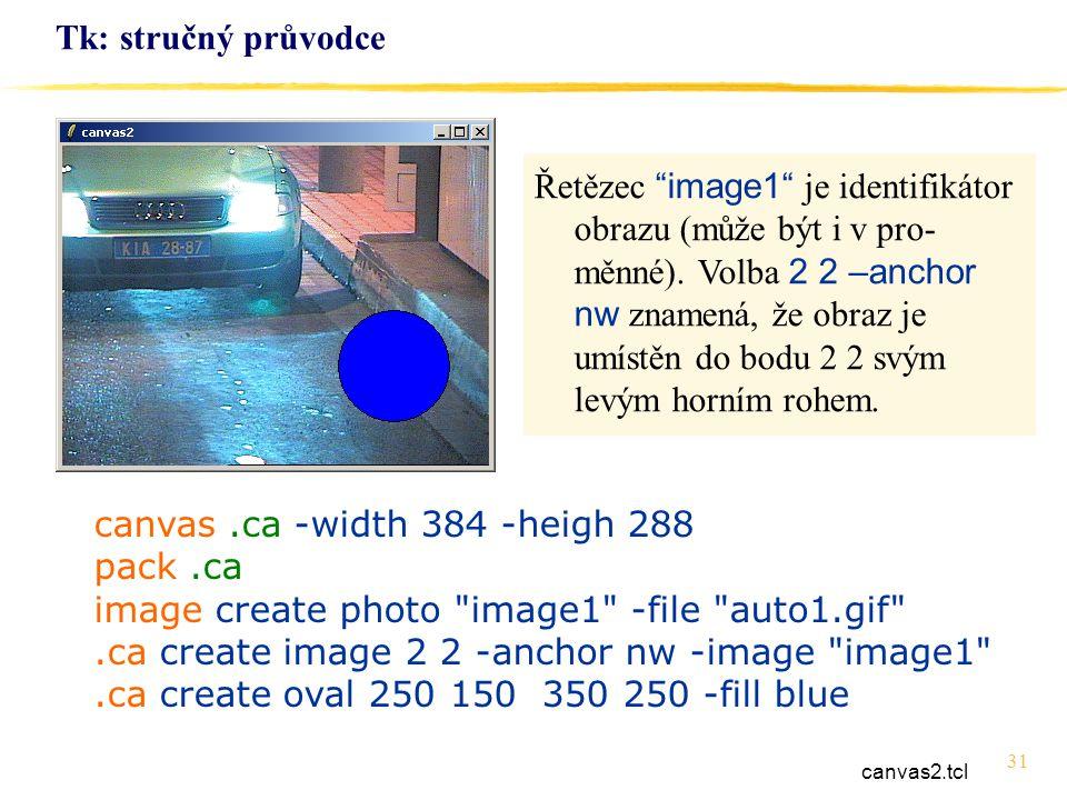 31 Tk: stručný průvodce canvas.ca -width 384 -heigh 288 pack.ca image create photo