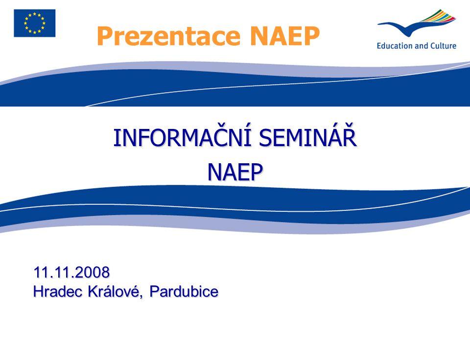Prezentace NAEP INFORMAČNÍ SEMINÁŘ NAEP 11.11.2008 Hradec Králové, Pardubice