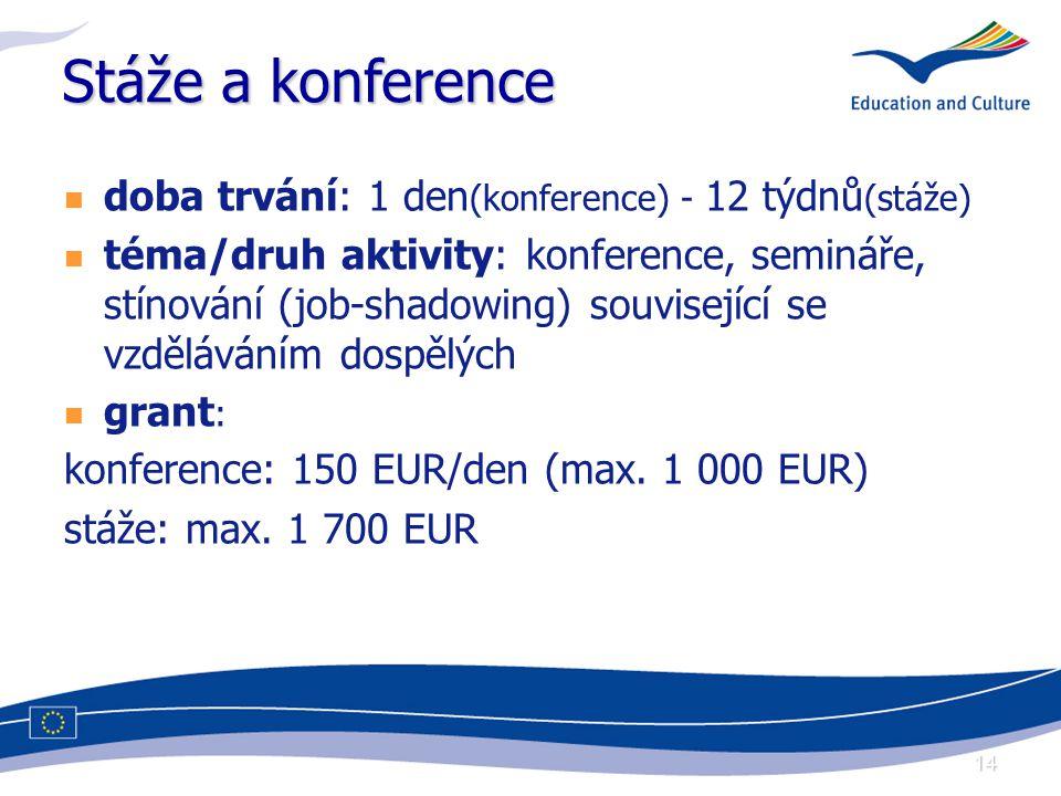 14 Stáže a konference doba trvání: 1 den (konference) - 12 týdnů (stáže) téma/druh aktivity: konference, semináře, stínování (job-shadowing) související se vzděláváním dospělých grant : konference: 150 EUR/den (max.