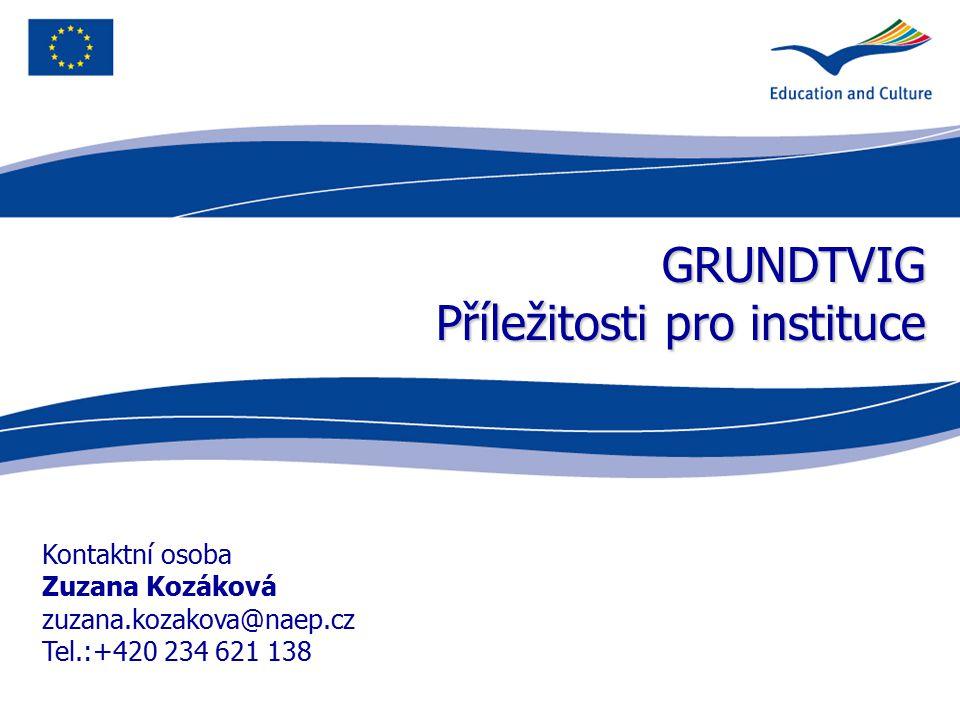 GRUNDTVIG Příležitosti pro instituce Kontaktní osoba Zuzana Kozáková zuzana.kozakova@naep.cz Tel.:+420 234 621 138