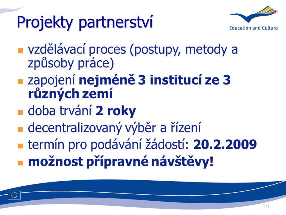 20 Projekty partnerství vzdělávací proces (postupy, metody a způsoby práce) zapojení nejméně 3 institucí ze 3 různých zemí doba trvání 2 roky decentralizovaný výběr a řízení termín pro podávání žádostí: 20.2.2009 možnost přípravné návštěvy!