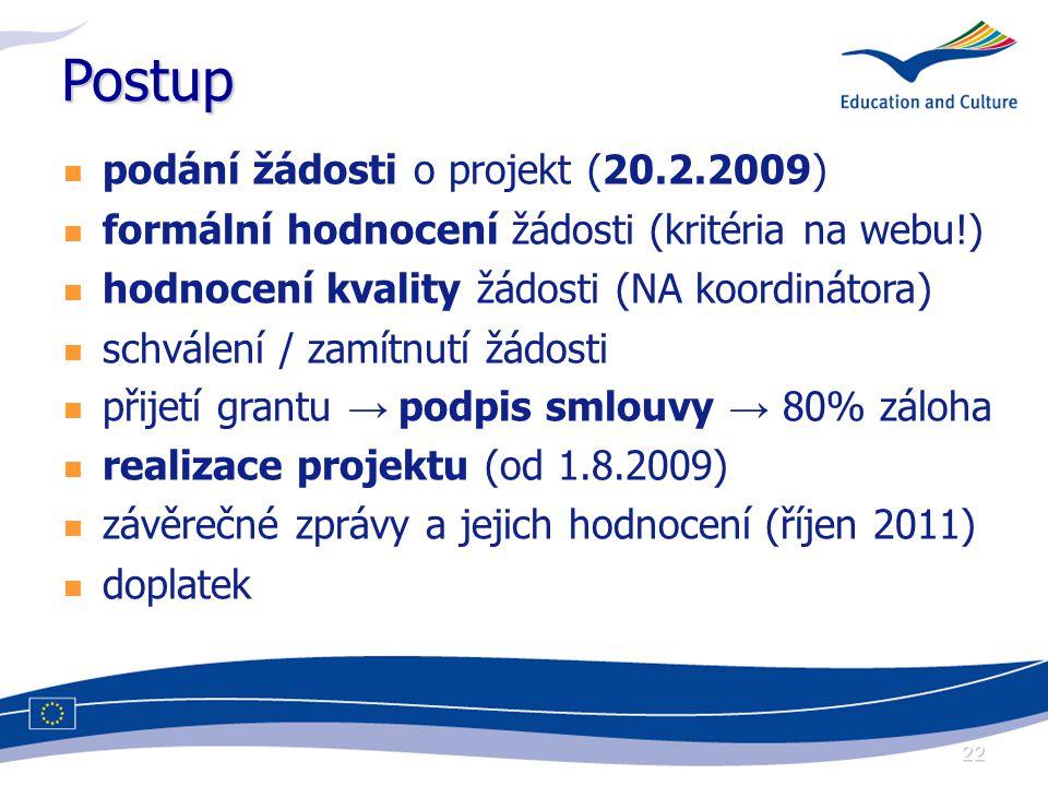 22 Postup podání žádosti o projekt (20.2.2009) formální hodnocení žádosti (kritéria na webu!) hodnocení kvality žádosti (NA koordinátora) schválení / zamítnutí žádosti přijetí grantu → podpis smlouvy → 80% záloha realizace projektu (od 1.8.2009) závěrečné zprávy a jejich hodnocení (říjen 2011) doplatek