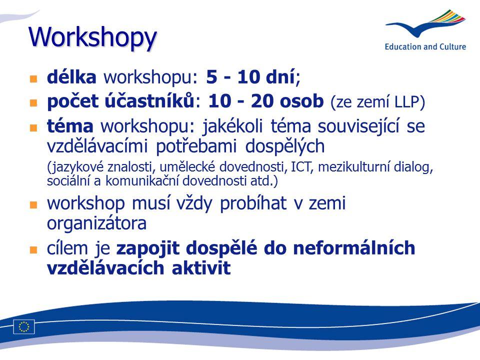 Workshopy délka workshopu: 5 - 10 dní; počet účastníků: 10 - 20 osob (ze zemí LLP) téma workshopu: jakékoli téma související se vzdělávacími potřebami dospělých (jazykové znalosti, umělecké dovednosti, ICT, mezikulturní dialog, sociální a komunikační dovednosti atd.) workshop musí vždy probíhat v zemi organizátora cílem je zapojit dospělé do neformálních vzdělávacích aktivit