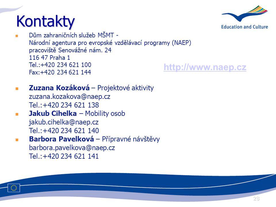 28 Kontakty Dům zahraničních služeb MŠMT - Národní agentura pro evropské vzdělávací programy (NAEP) pracoviště Senovážné nám. 24 116 47 Praha 1 Tel.:+