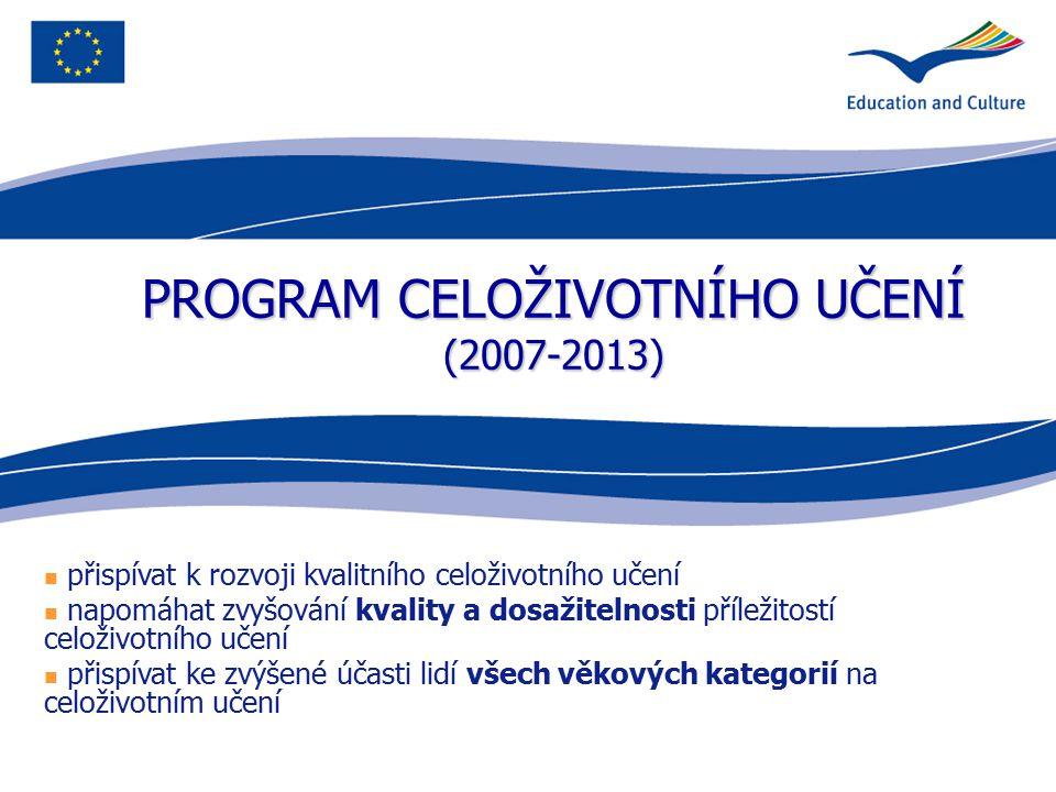 PROGRAM CELOŽIVOTNÍHO UČENÍ (2007-2013) přispívat k rozvoji kvalitního celoživotního učení napomáhat zvyšování kvality a dosažitelnosti příležitostí c