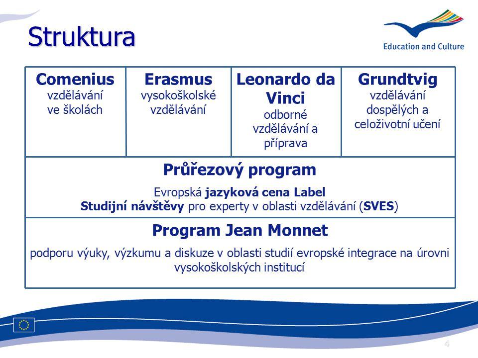 4 Struktura Comenius vzdělávání ve školách Erasmus vysokoškolské vzdělávání Leonardo da Vinci odborné vzdělávání a příprava Grundtvig vzdělávání dospělých a celoživotní učení Průřezový program Evropská jazyková cena Label Studijní návštěvy pro experty v oblasti vzdělávání (SVES) Program Jean Monnet podporu výuky, výzkumu a diskuze v oblasti studií evropské integrace na úrovni vysokoškolských institucí