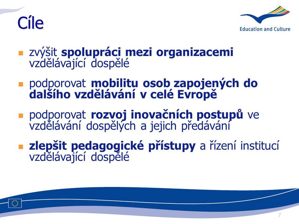 7 Cíle zvýšit spolupráci mezi organizacemi vzdělávající dospělé podporovat mobilitu osob zapojených do dalšího vzdělávání v celé Evropě podporovat rozvoj inovačních postupů ve vzdělávání dospělých a jejich předávání zlepšit pedagogické přístupy a řízení institucí vzdělávající dospělé