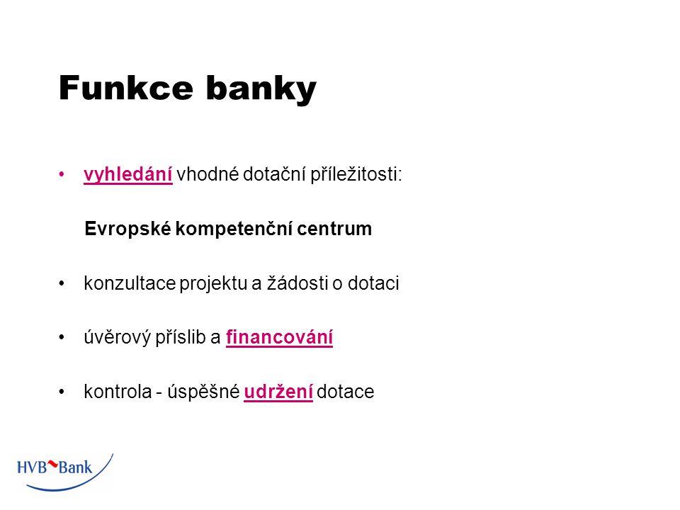 Funkce banky vyhledání vhodné dotační příležitosti: Evropské kompetenční centrum konzultace projektu a žádosti o dotaci úvěrový příslib a financování kontrola - úspěšné udržení dotace