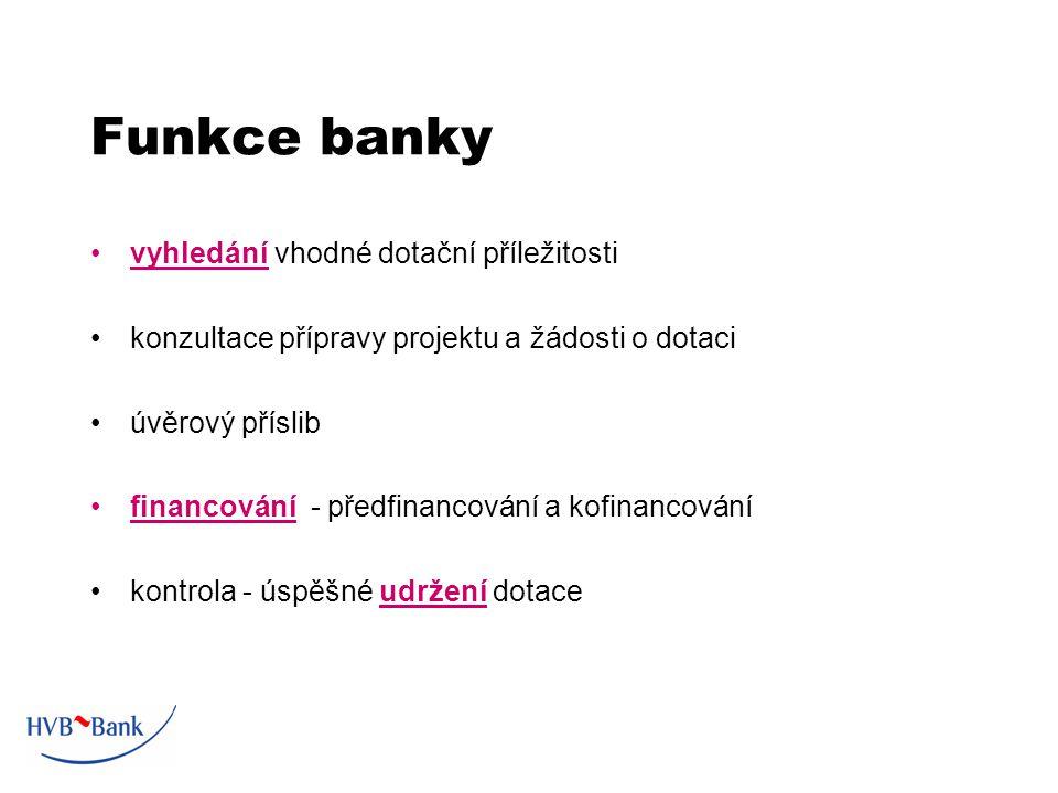 Funkce banky vyhledání vhodné dotační příležitosti konzultace přípravy projektu a žádosti o dotaci úvěrový příslib financování - předfinancování a kofinancování kontrola - úspěšné udržení dotace