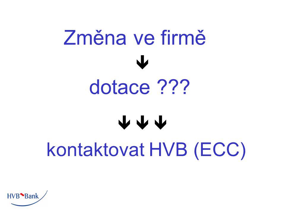 Změna ve firmě  dotace    kontaktovat HVB (ECC)