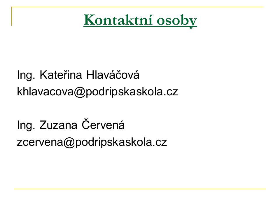 Kontaktní osoby Ing.Kateřina Hlaváčová khlavacova@podripskaskola.cz Ing.