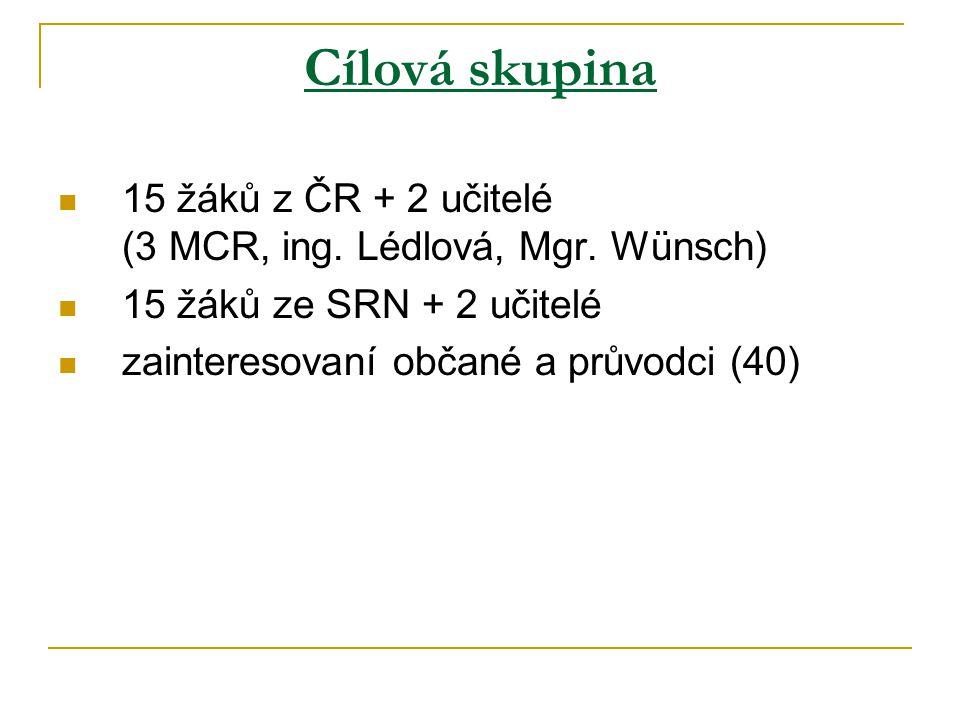 Cílová skupina 15 žáků z ČR + 2 učitelé (3 MCR, ing.