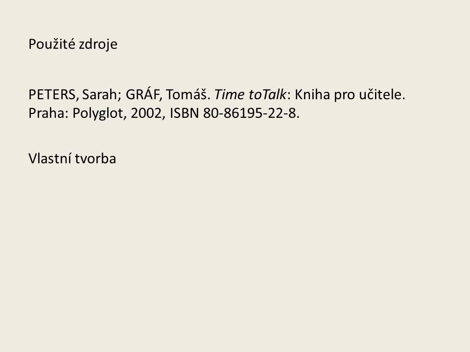 Použité zdroje PETERS, Sarah; GRÁF, Tomáš. Time toTalk: Kniha pro učitele.
