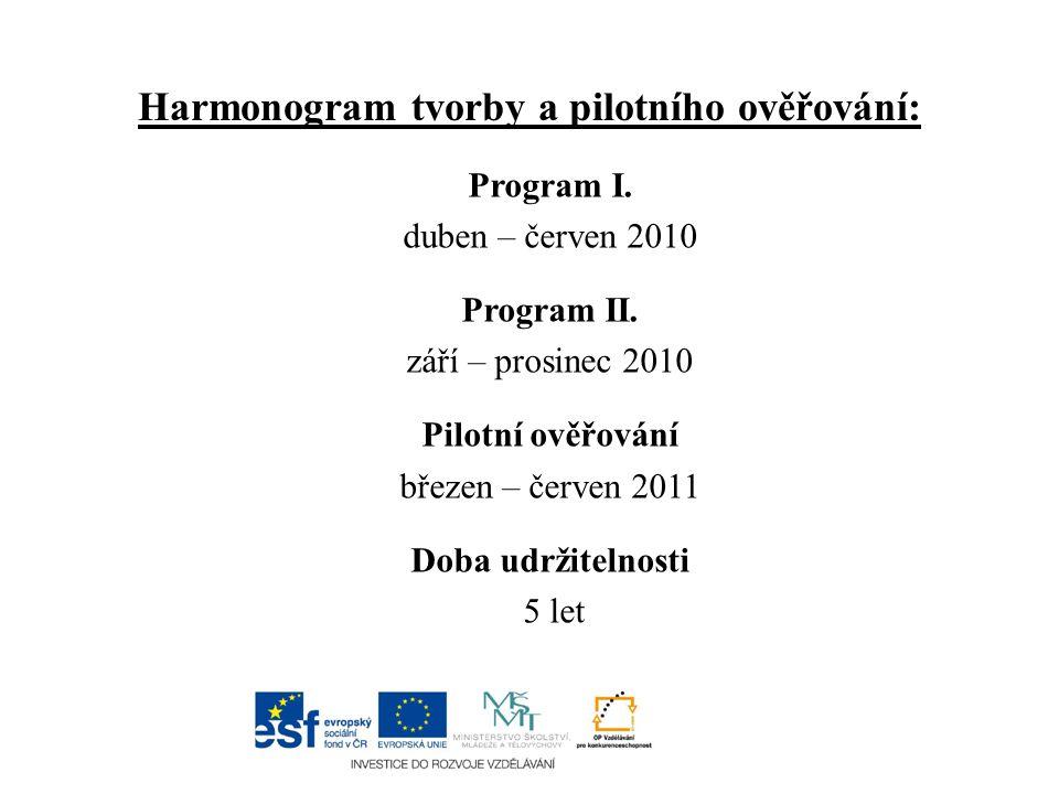 Harmonogram tvorby a pilotního ověřování: Program I.
