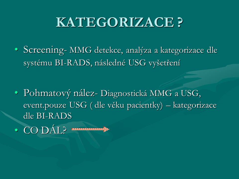 KATEGORIZACE ? Screening- MMG detekce, analýza a kategorizace dle systému BI-RADS, následné USG vyšetřeníScreening- MMG detekce, analýza a kategorizac