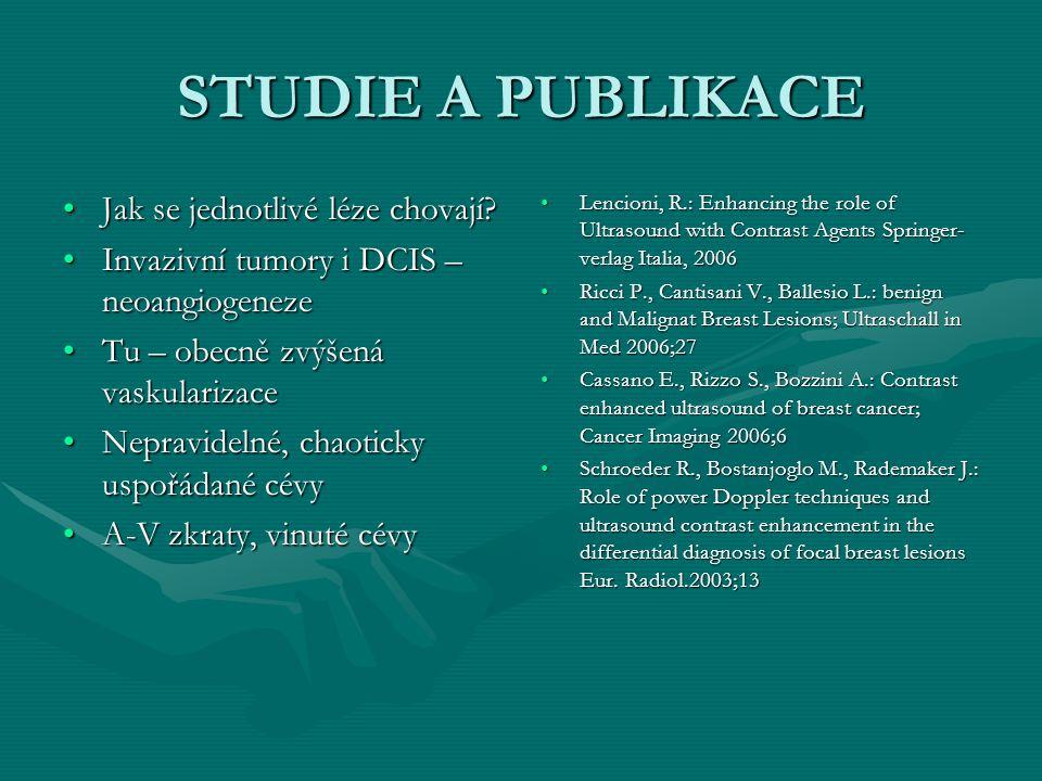 STUDIE A PUBLIKACE Jak se jednotlivé léze chovají?Jak se jednotlivé léze chovají? Invazivní tumory i DCIS – neoangiogenezeInvazivní tumory i DCIS – ne